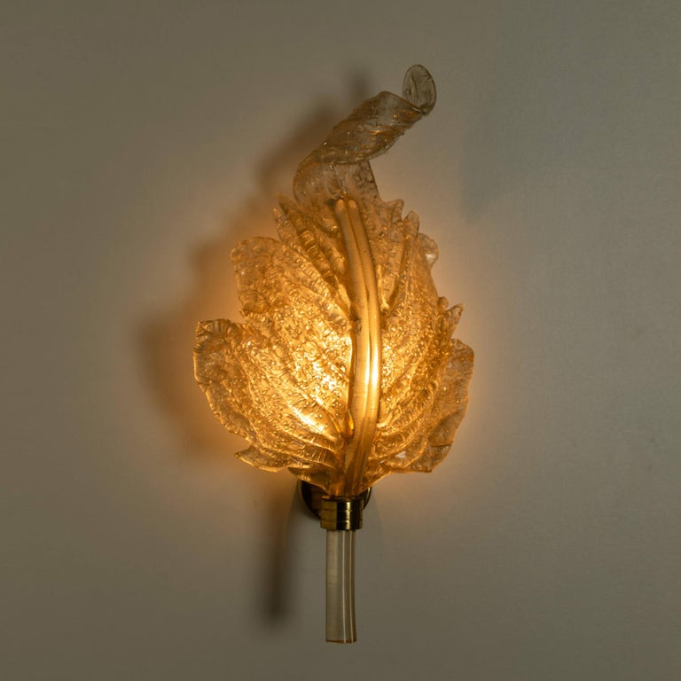 1 of the 6 Large Wall Sconces Barovier & Toso Gold Glass Murano, Italy, 1960s For Sale 5