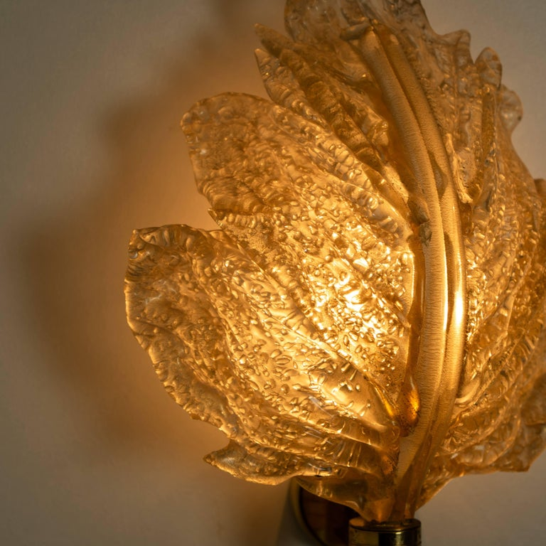 1 of the 6 Large Wall Sconces Barovier & Toso Gold Glass Murano, Italy, 1960s For Sale 6