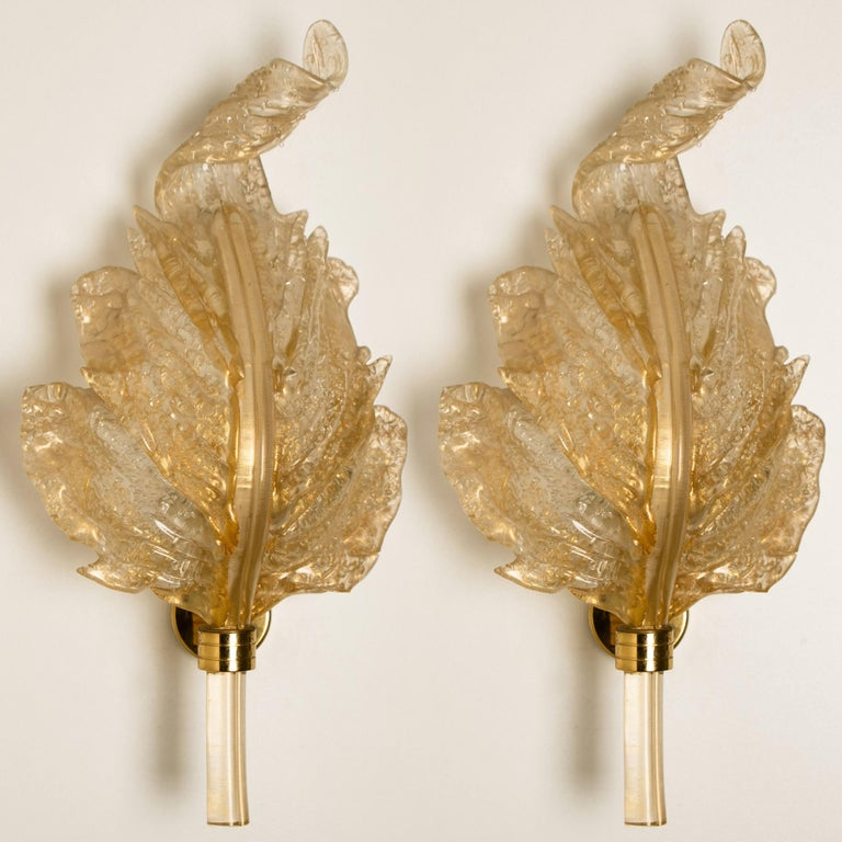 1 of the 6 Large Wall Sconces Barovier & Toso Gold Glass Murano, Italy, 1960s For Sale 8