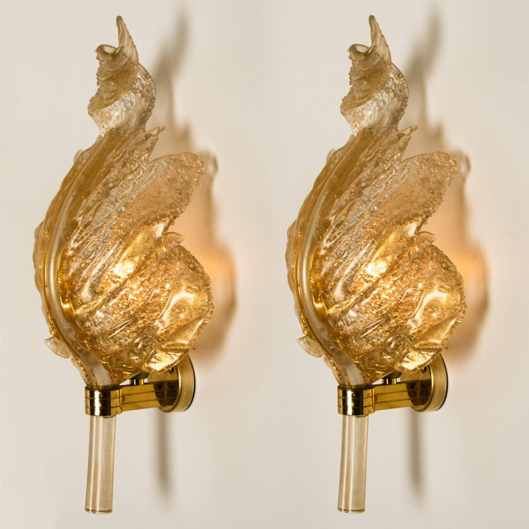Mid-Century Modern 1 of the 6 Large Wall Sconces Barovier & Toso Gold Glass Murano, Italy, 1960s For Sale