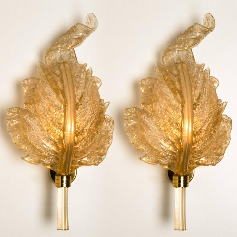 1 of the 6 Large Wall Sconces Barovier & Toso Gold Glass Murano, Italy, 1960s In Good Condition For Sale In Rijssen, NL
