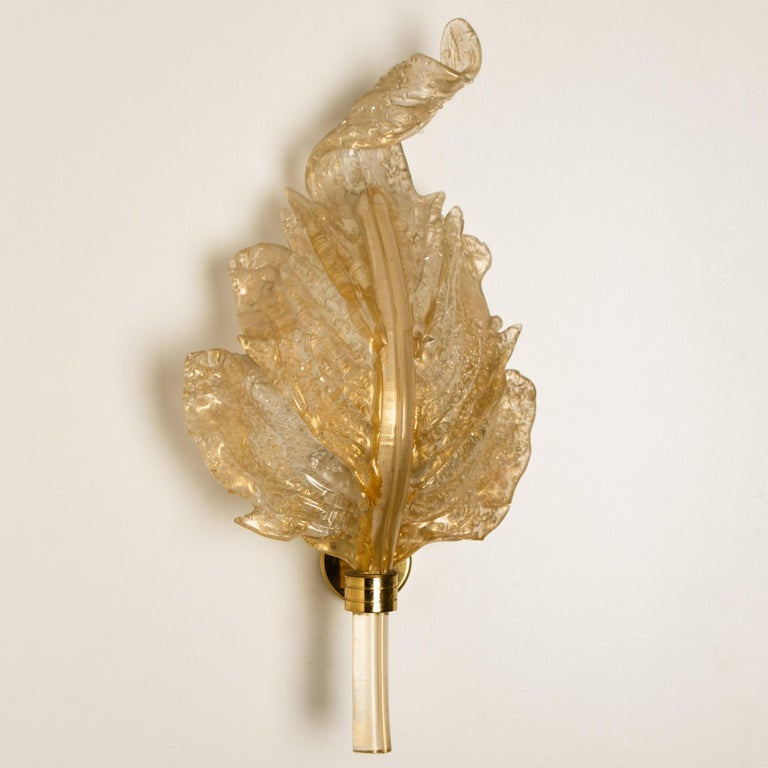 20th Century 1 of the 6 Large Wall Sconces Barovier & Toso Gold Glass Murano, Italy, 1960s For Sale