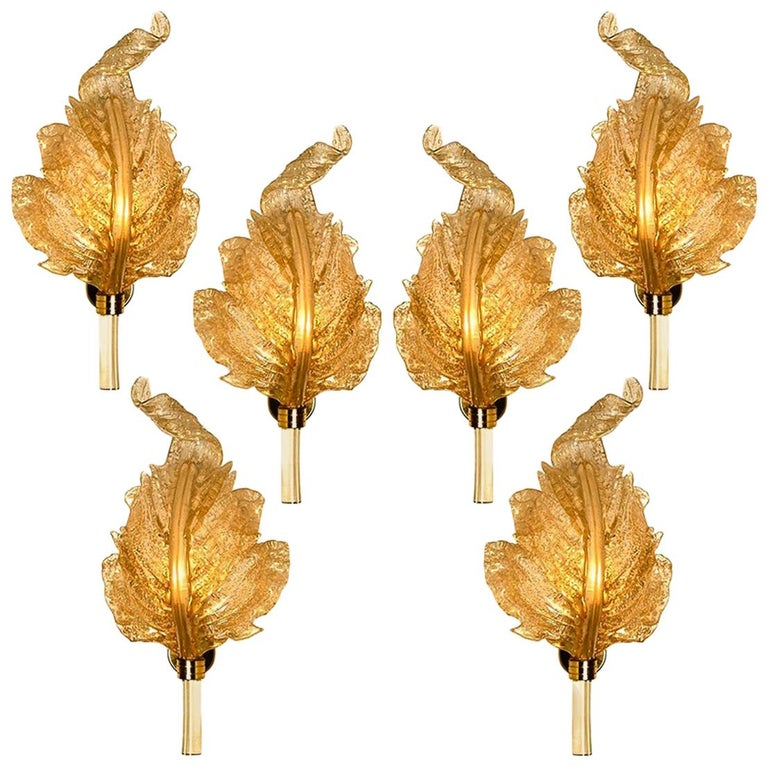 1 of the 6 Large Wall Sconces Barovier & Toso Gold Glass Murano, Italy, 1960s For Sale