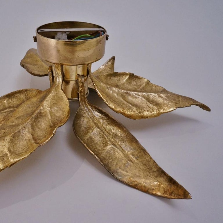 Belgian 1 of the 6 Massive Brass Flower Wall Lights, Willy Daro Style, 1970s For Sale
