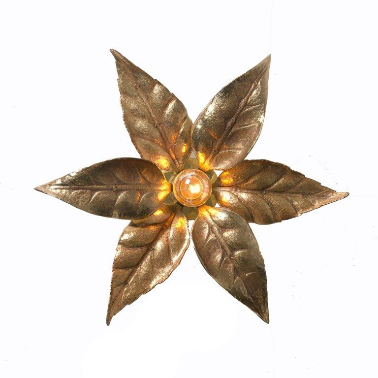 1 of the 6 Massive Brass Flower Wall Lights, Willy Daro Style, 1970s For Sale 1
