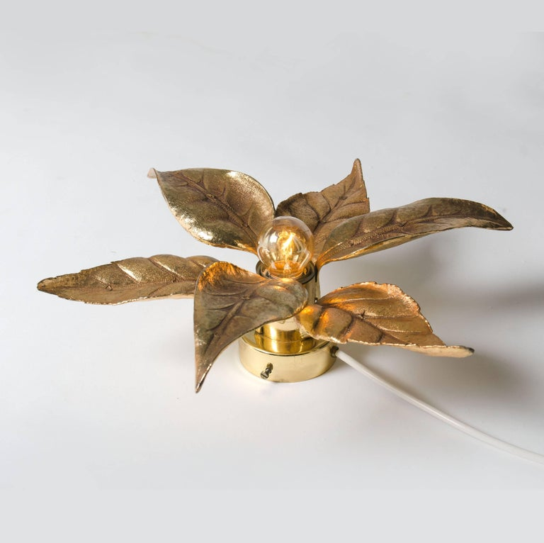 1 of the 6 Massive Brass Flower Wall Lights, Willy Daro Style, 1970s For Sale 2