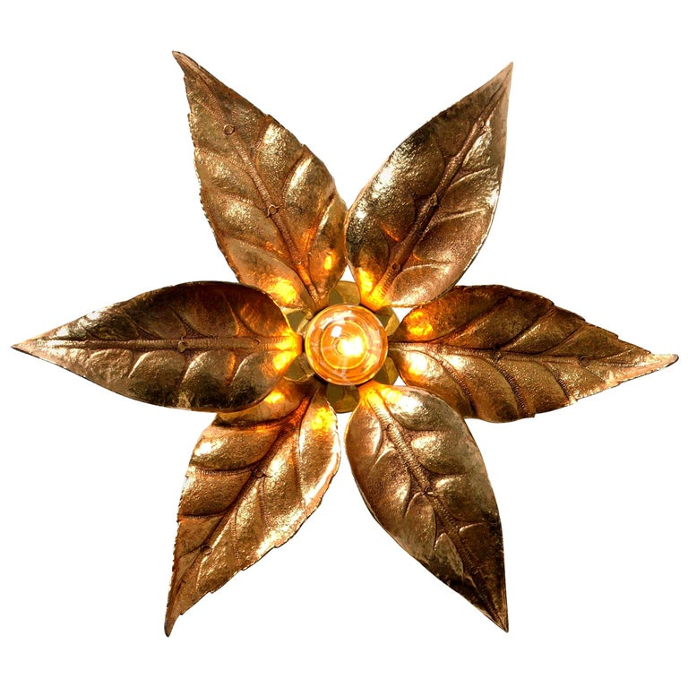 1 of the 6 Massive Brass Flower Wall Lights, Willy Daro Style, 1970s For Sale