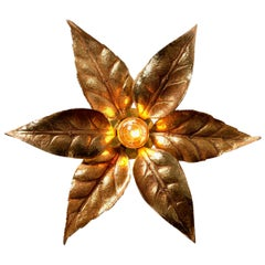 1 of the 6 Massive Brass Flower Wall Lights, Willy Daro Style, 1970s