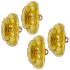 1 of the 6 Murano Amber Glass Flush Mounts or Wall Lights, 1970s