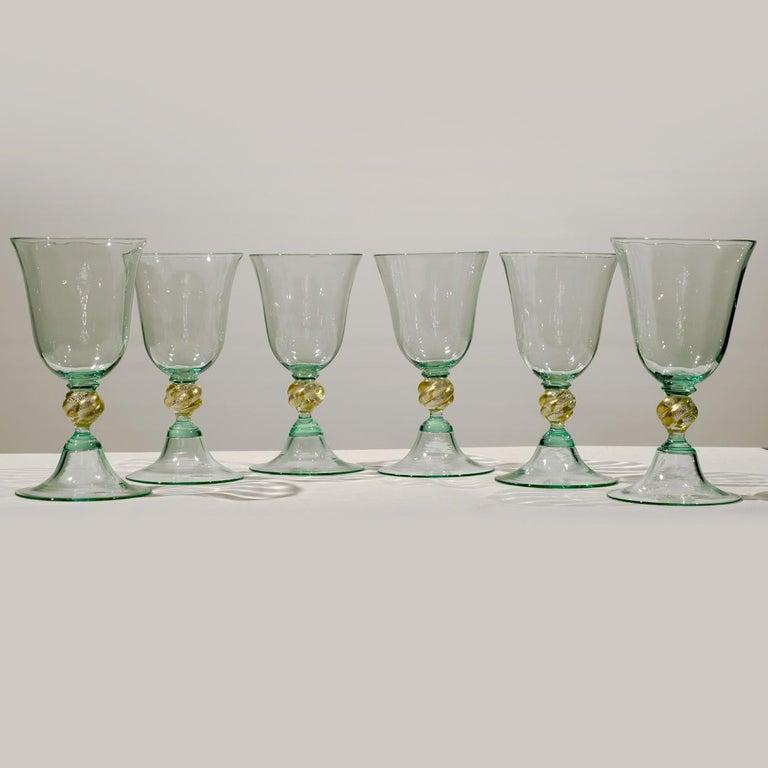 1 of the 6 Murano Venetian Crystal Signoretto Wine Glasses For Sale 3