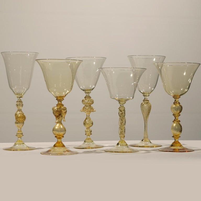 1 of the 6 Murano Venetian Crystal Signoretto Wine Glasses 3