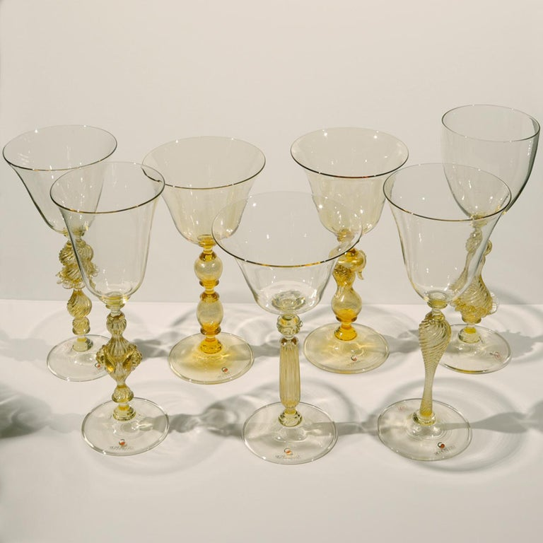 1 of the 6 Murano Venetian Crystal Signoretto Wine Glasses 4