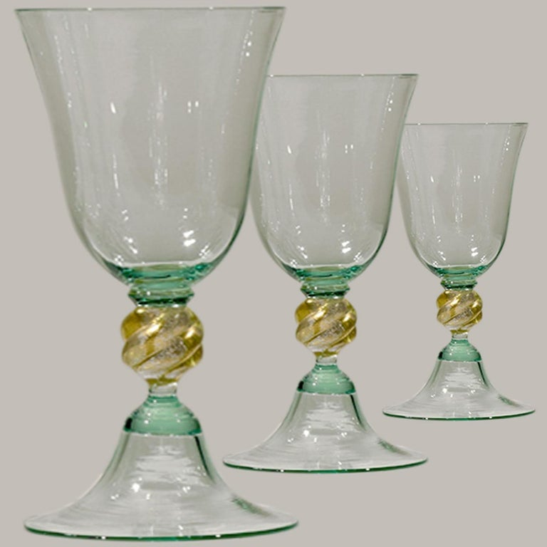 1 of the 6 Murano Venetian Crystal Signoretto Wine Glasses For Sale 5