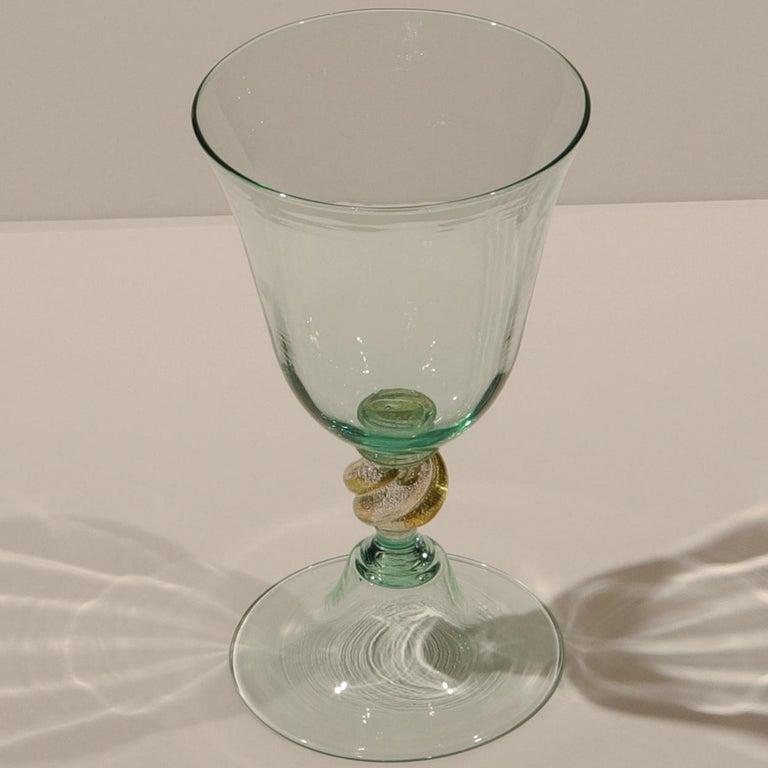 1 of the 6 Murano Venetian Crystal Signoretto Wine Glasses For Sale 6