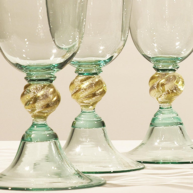 Mid-Century Modern 1 of the 6 Murano Venetian Crystal Signoretto Wine Glasses For Sale
