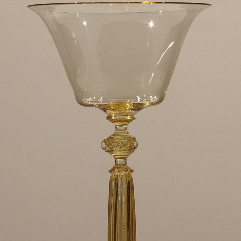 Mid-Century Modern 1 of the 6 Murano Venetian Crystal Signoretto Wine Glasses