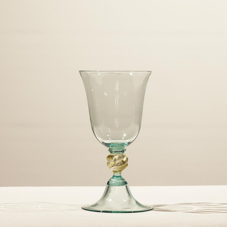 Italian 1 of the 6 Murano Venetian Crystal Signoretto Wine Glasses For Sale
