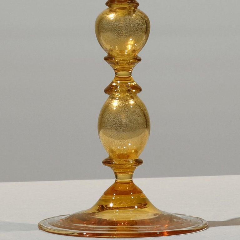 1 of the 6 Murano Venetian Crystal Signoretto Wine Glasses In Excellent Condition In Rijssen, NL