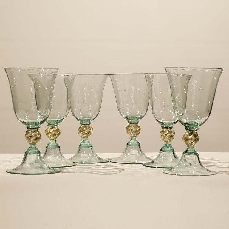 Contemporary 1 of the 6 Murano Venetian Crystal Signoretto Wine Glasses For Sale