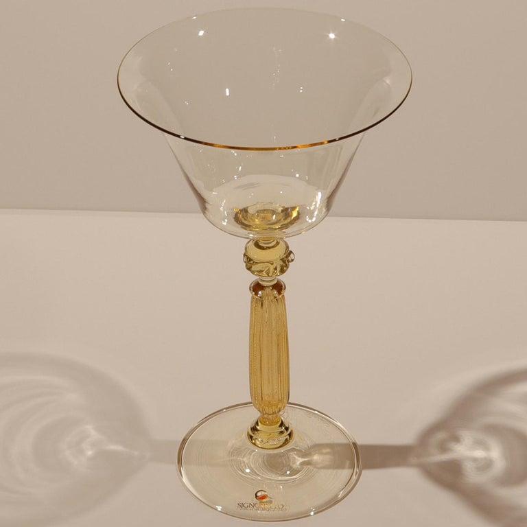 Contemporary 1 of the 6 Murano Venetian Crystal Signoretto Wine Glasses
