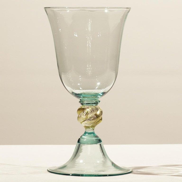 Blown Glass 1 of the 6 Murano Venetian Crystal Signoretto Wine Glasses For Sale