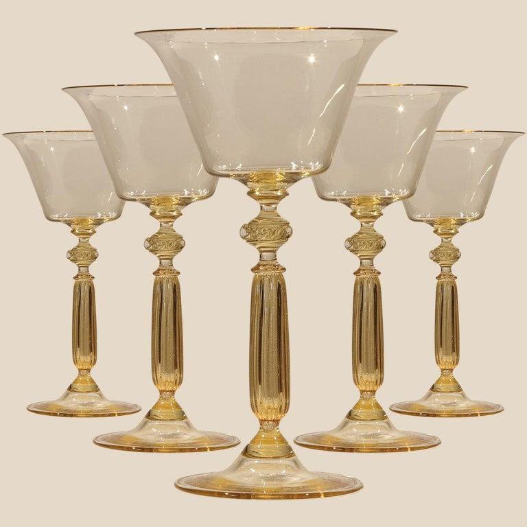 Blown Glass 1 of the 6 Murano Venetian Crystal Signoretto Wine Glasses