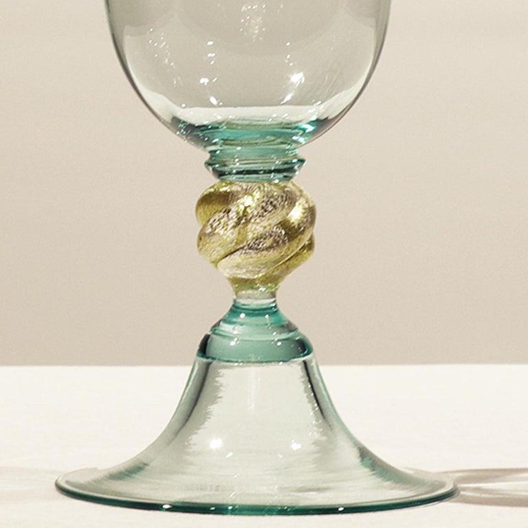 1 of the 6 Murano Venetian Crystal Signoretto Wine Glasses For Sale 1
