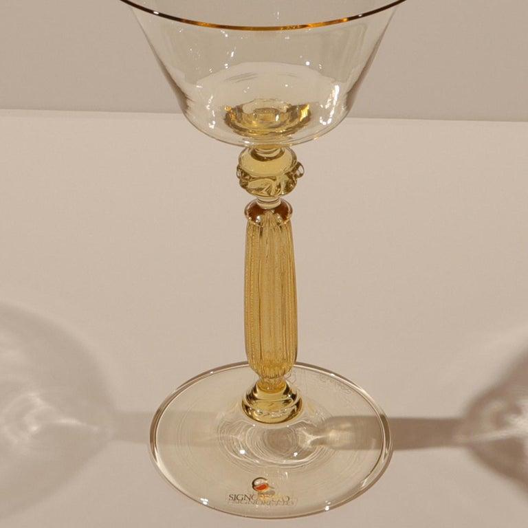 1 of the 6 Murano Venetian Crystal Signoretto Wine Glasses 1