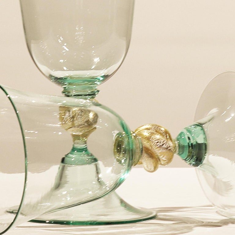 1 of the 6 Murano Venetian Crystal Signoretto Wine Glasses For Sale 2