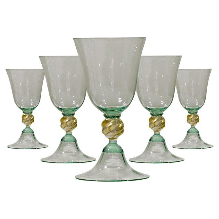 1 of the 6 Murano Venetian Crystal Signoretto Wine Glasses For Sale