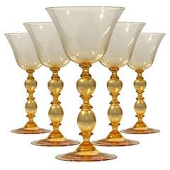 1 of the 6 Murano Venetian Crystal Signoretto Wine Glasses