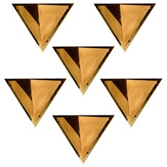 1 of the 6 Pyramid Shaped Massive Brass Wall Lamps, 1970s