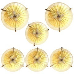 1 of the 6 Thick Massive Handmade Glass Brass Flush Mount or Wall Light, 1960