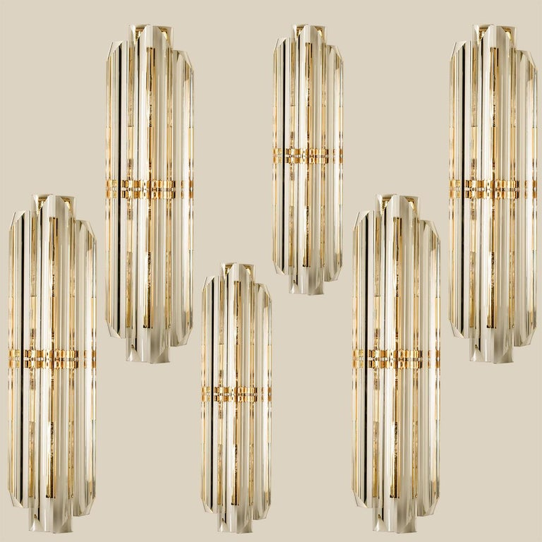 Italian 1 of the 6 Venini Style Murano Glass and Gilt Brass Sconces, Italy For Sale