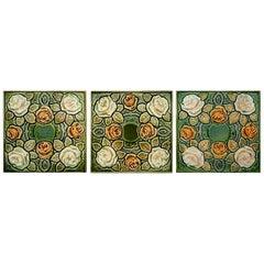 1 of the 64 Antique Glazed Art Nouveau Tiles, circa 1920