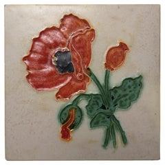 1 of the 8 Authentic Glazed Art Nouveau Relief Tiles Poppy, Belga, circa 1930s