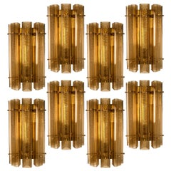 1 of the 8 Extra Large Murano Wall Sconces/Wall Lights Glass and Brass