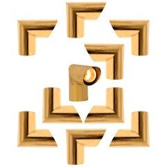 1 of the 8 Geometrical Brass Sconces by Nanda Vigo for Arredoluce, Italy, 1970