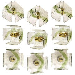 1 of the 8 Green Hand Blown Flushmounts, Wall Sconces from J.T. Kalmar, 1960s