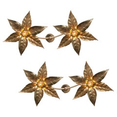 1 of the 4 Willy Daro Style Brass Double Flower Wall Lights, 1970s