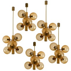 1 of the 9 Molecular Chandeliers by VEB, Amber Glass Globes
