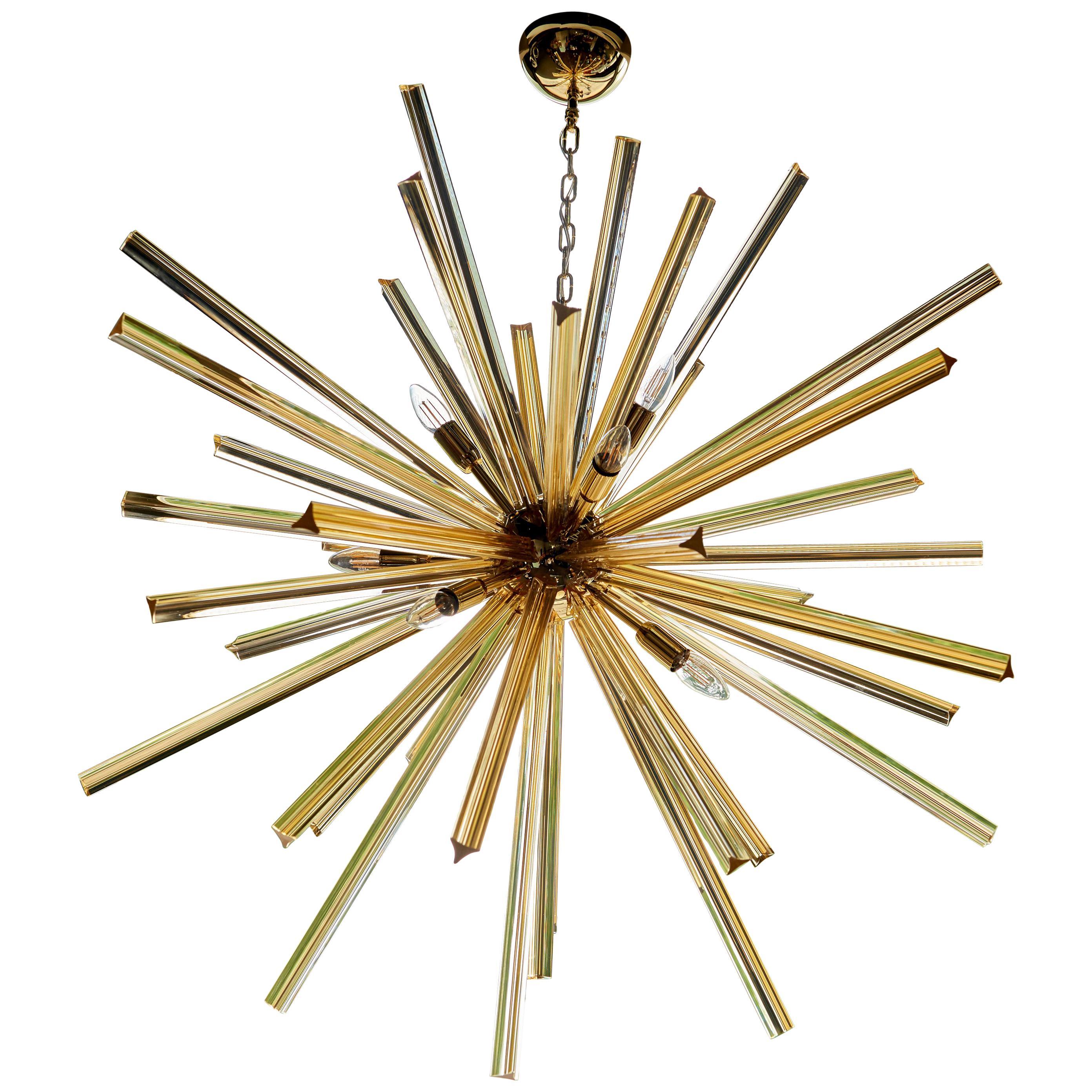 1 or 2 Huge Brass and Amber Murano Glass Sputnik Chandelier Venini Style