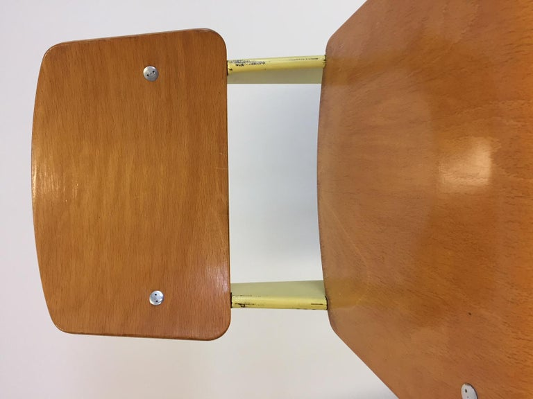 Mid-Century Modern 1 Pair Jean Prouvé Semi-Metal No. 305 Chairs Colour Yellow For Sale