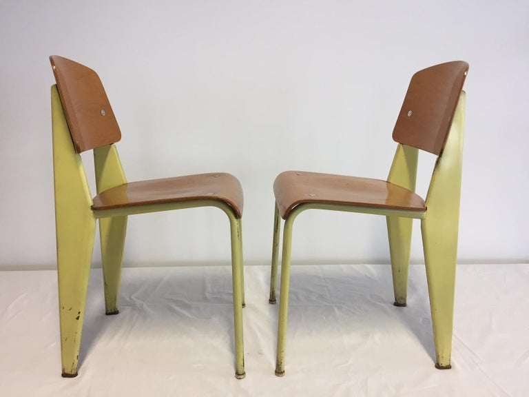 French 1 Pair Jean Prouvé Semi-Metal No. 305 Chairs Colour Yellow For Sale