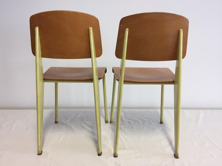 Enameled 1 Pair Jean Prouvé Semi-Metal No. 305 Chairs Colour Yellow For Sale