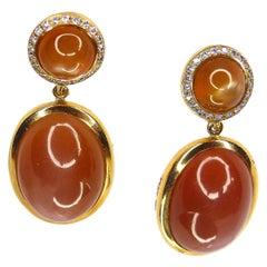 1 Pair of Earrings in 18 Karat Rose Gold with Brown Moonstones and Diamonds