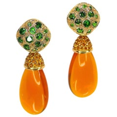 1 Pair of Earrings 'Tops + Pendants' in 750/Red Gold with Fire Opal + Tsavorites