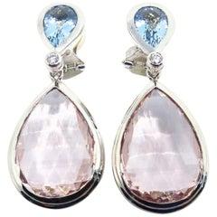 1 Pair of Earrings with Morganites, Aquamarines and Diamonds in 18 Karat Gold