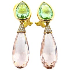 Leyser 18k Rose Gold Morganites, Tourmalines & Diamonds Briolette Earrings