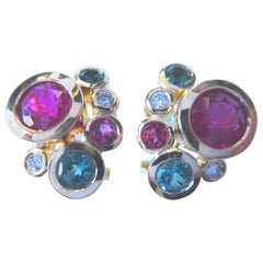 1 Pair of Earrings with Rubelites and Green Tourmalines in 18 Karat Rose Gold